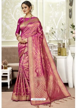 Medium Violet Traditional Designer Banarasi Silk Sari