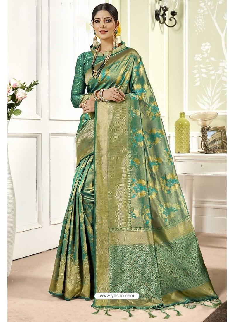 Aqua Mint Traditional Designer Banarasi Silk Sari