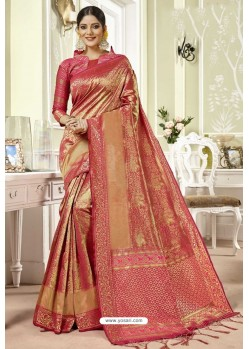 Light Red Traditional Designer Banarasi Silk Sari