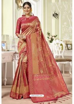 Light Red Traditional Designer Banarasi Silk Sari