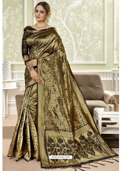 Gold Traditional Designer Banarasi Silk Sari