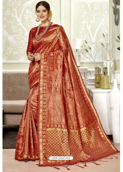 Red Traditional Designer Banarasi Silk Sari