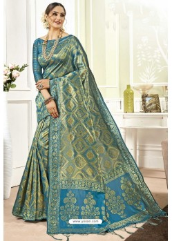 Blue Traditional Designer Banarasi Silk Sari
