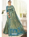 Blue Traditional Designer Banarasi Silk Sari