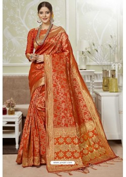 Orange Traditional Designer Banarasi Silk Sari