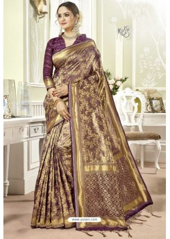 Purple Traditional Designer Banarasi Silk Sari
