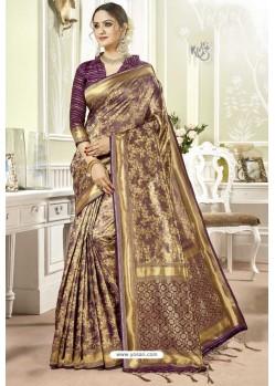 Purple Traditional Designer Banarasi Silk Sari