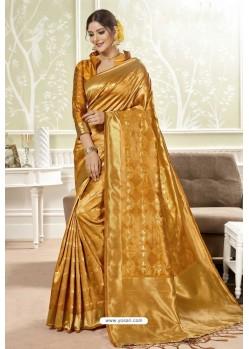 Mustard Traditional Designer Banarasi Silk Sari