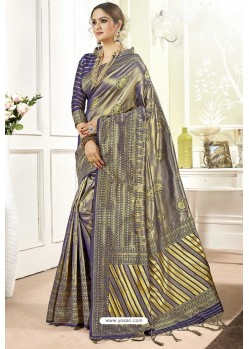 Dark Blue Traditional Designer Banarasi Silk Sari
