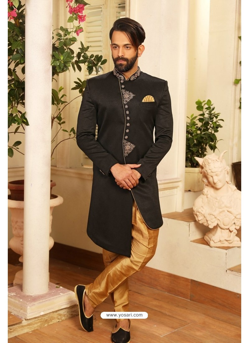 Black Readymade Heavy Embroidered Designer Sherwani For Men