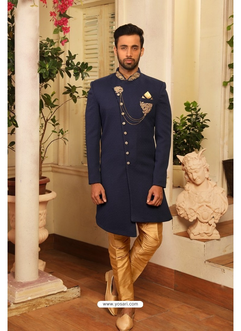 Navy Blue Readymade Heavy Embroidered Designer Sherwani For Men