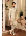 Off White Readymade Heavy Embroidered Designer Sherwani For Men