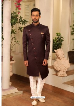 Coffee Readymade Heavy Embroidered Designer Sherwani For Men