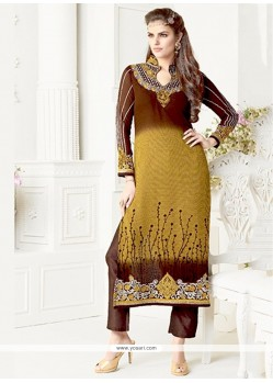Lurid Georgette Brown Embroidered Work Salwar Suit