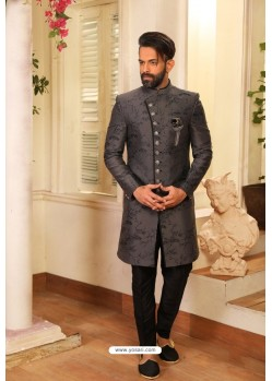 Grey Readymade Heavy Embroidered Designer Sherwani For Men