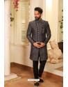 Grey Readymade Heavy Embroidered Designer Sherwani For Men