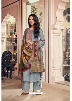 Aqua Grey Embroidered Jam Cotton Print Designer Palazzo Salwar Suit