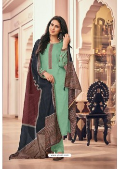 Sea Green Embroidered Jam Cotton Print Designer Palazzo Salwar Suit