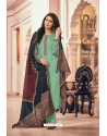 Sea Green Embroidered Jam Cotton Print Designer Palazzo Salwar Suit