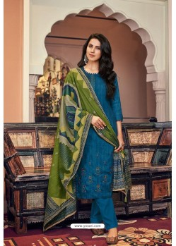 Teal Blue Embroidered Jam Cotton Print Designer Palazzo Salwar Suit