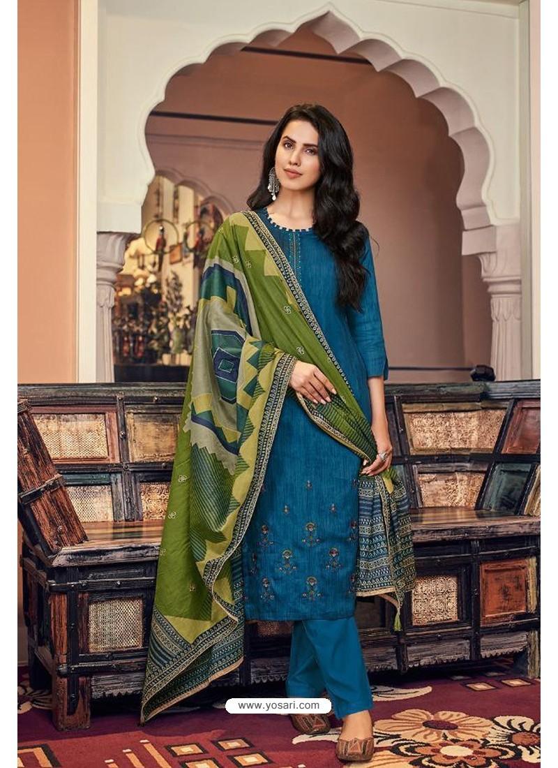 Teal Blue Embroidered Jam Cotton Print Designer Palazzo Salwar Suit
