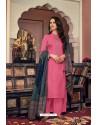 Hot Pink Embroidered Jam Cotton Print Designer Palazzo Salwar Suit