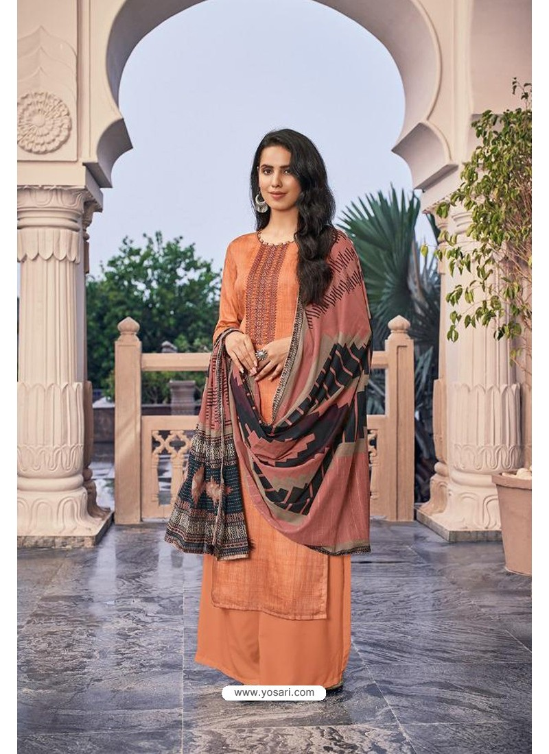Orange Embroidered Jam Cotton Print Designer Palazzo Salwar Suit
