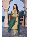 Cream Embroidered Jam Cotton Print Designer Palazzo Salwar Suit