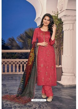 Crimson Embroidered Jam Cotton Print Designer Palazzo Salwar Suit