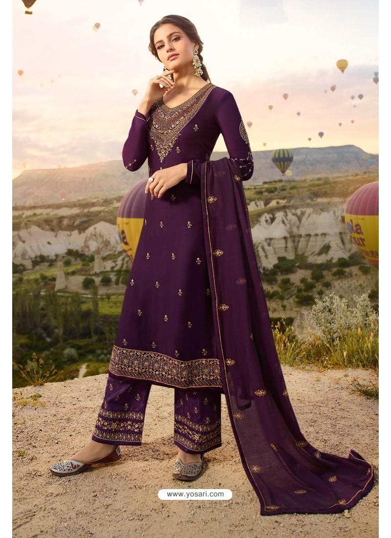 Purple Embroidered Satin Georgette Designer Straight Salwar Suit