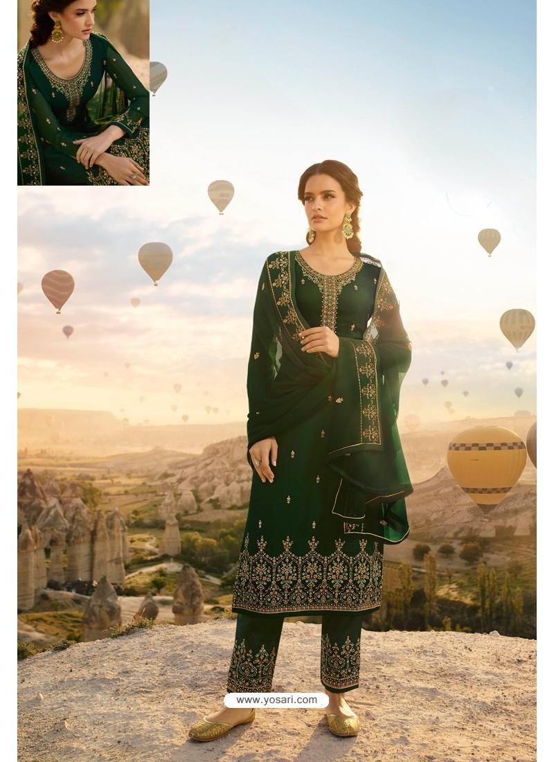 Dark Green Embroidered Satin Georgette Designer Straight Salwar Suit