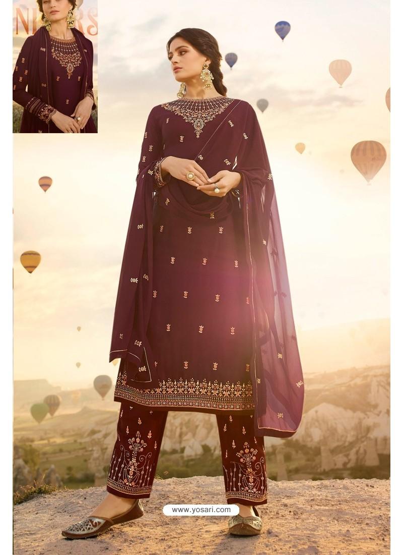 Maroon Embroidered Satin Georgette Designer Straight Salwar Suit