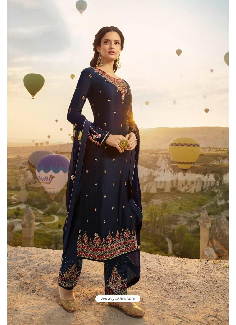 Navy Blue Embroidered Satin Georgette Designer Straight Salwar Suit