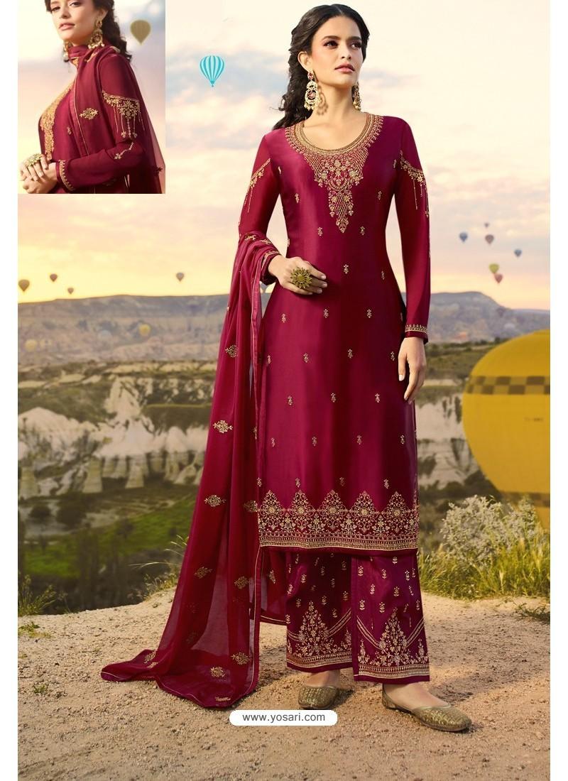 Rose Red Embroidered Satin Georgette Designer Straight Salwar Suit