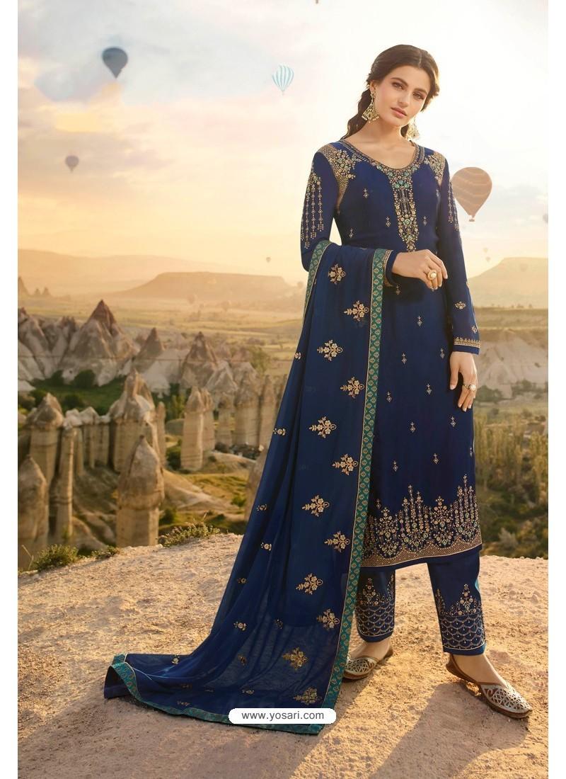 Dark Blue Embroidered Satin Georgette Designer Straight Salwar Suit