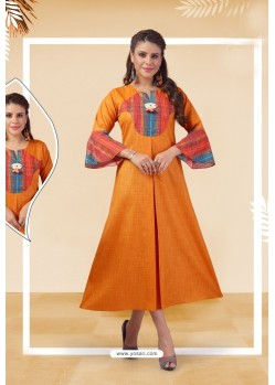 Orange Readymade Designer Party Wear Kurti