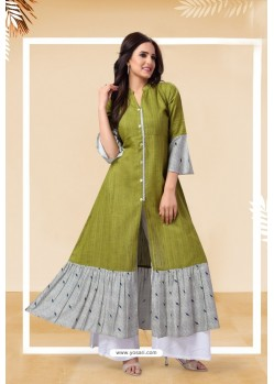 Parrot Green Readymade Designer Party Wear Kurti