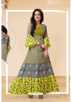 Olive Green Readymade Designer Party Wear Kurti
