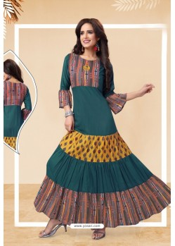 Teal Blue Readymade Designer Party Wear Kurti