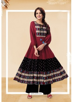Maroon Readymade Designer Party Wear Kurti