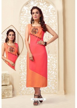 Orange Readymade Designer Party Wear Kurti