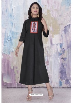 Black Readymade Designer Party Wear Kurti
