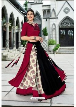 Rose Red Designer Heavy Embroidered Lehenga Choli