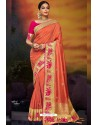 Orange Designer Party Wear Two Tone Heavy Satin Silk Sari