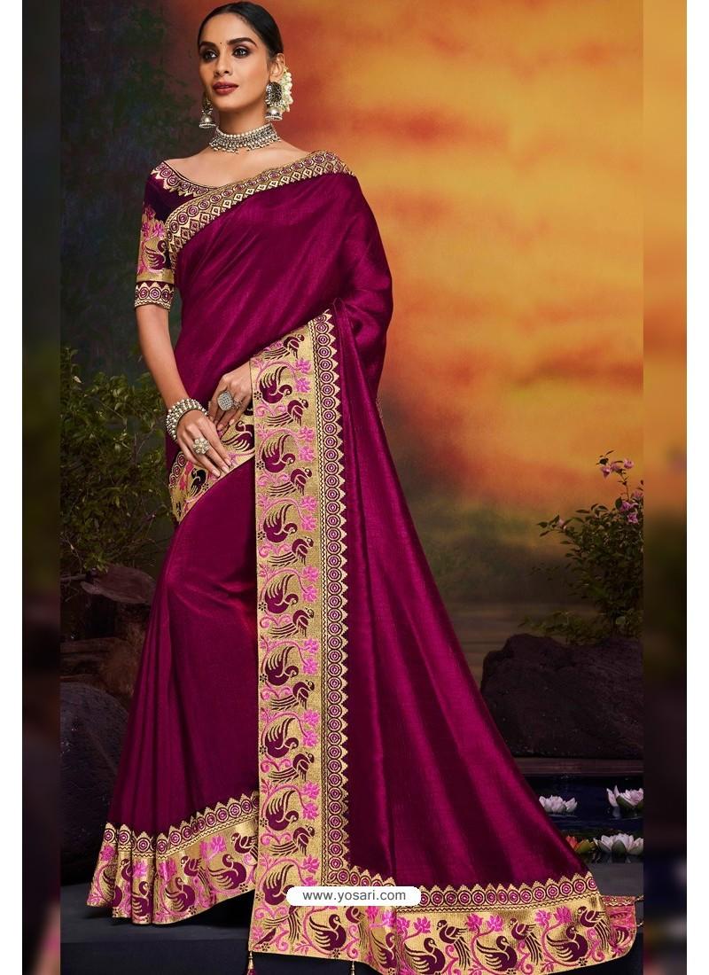 Medium Violet Designer Party Wear Two Tone Heavy Satin Silk Sari