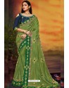 Green Designer Party Wear Two Tone Heavy Satin Silk Sari