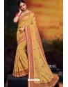 Khaki Designer Party Wear Two Tone Heavy Satin Silk Sari
