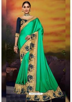 Jade Green Designer Party Wear Two Tone Heavy Satin Silk Sari