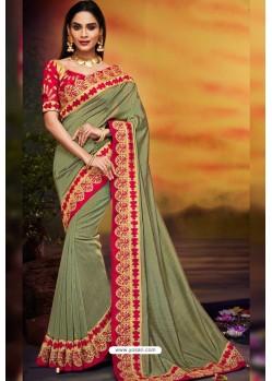Olive Green Designer Party Wear Two Tone Heavy Satin Silk Sari