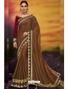 Brown Designer Party Wear Two Tone Heavy Satin Silk Sari